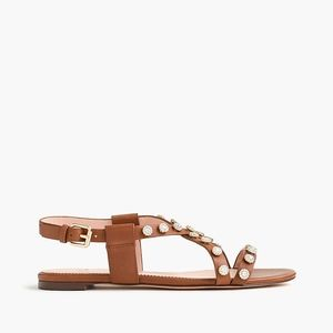 New JCREW Cora Sandals with Floral Jeweled Studs